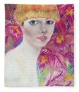 Ali Macgraw In Orange Hat Fleece Blanket