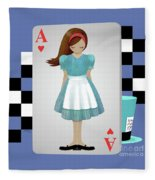 Alice 3d Flying Cards Fleece Blanket