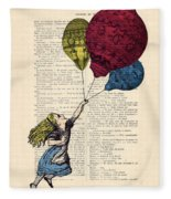 Alice In Wonderland With Big Colorful Balloons Fleece Blanket