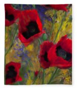 Alicias Poppies Fleece Blanket