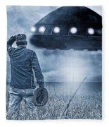 Alien Invasion Cyberpunk Version Fleece Blanket
