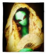 Alien Wearing Lace Mantilla Fleece Blanket