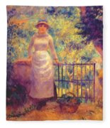 Aline At The Gate Girl In The Garden 1884 Fleece Blanket