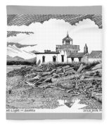 Alki Point Lighthouse Seattle Fleece Blanket