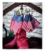 All American Flag And Red Boots - Painterly Fleece Blanket