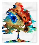 All Seasons Tree 3 - Colorful Landscape Print Fleece Blanket