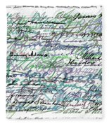 All The Presidents Signatures Teal Blue Fleece Blanket