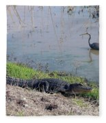 Alligator And Heron Fleece Blanket