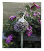 Allium Blossom With Cap Fleece Blanket