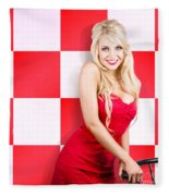 Alluring Long Haired Blonde Beauty In Retro Cafe Fleece Blanket