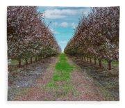 Almond Trees Of Button Willow Fleece Blanket