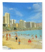 Aloha From Hawaii - Waikiki Beach Honolulu Fleece Blanket