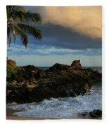 Aloha Naau Sunset Paako Beach Honuaula Makena Maui Hawaii Fleece Blanket