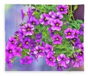 Aloha Purple Sky Calibrachoa Abstract I Fleece Blanket