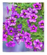 Aloha Purple Sky Calibrachoa Abstract I Fleece Blanket