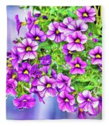 Aloha Purple Sky Calibrachoa Abstract II Fleece Blanket