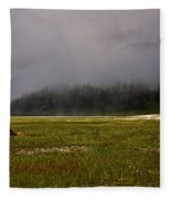 Alone In Fog Fleece Blanket