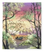 Alone On The Water Fleece Blanket