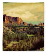 Along The Crooked River Fleece Blanket