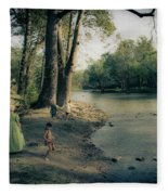 Along The Mississinewa River Fleece Blanket