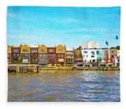 Along The River Thames Fleece Blanket