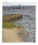 Along The Shore Of Biloxi Bay Fleece Blanket