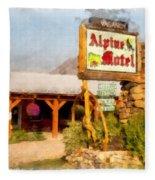 Alpine Motel Vintage Roadside Oasis Yellowstone Fleece Blanket