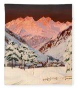 Alpine Mountain Scene Fleece Blanket
