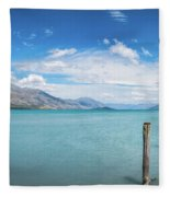 Alpine Scenery Panorama At Kinloch, New Zealand Fleece Blanket