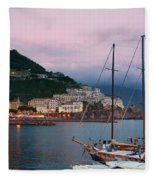Amalfi Harbor Sunset Fleece Blanket