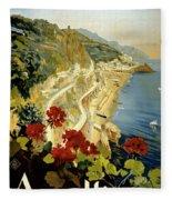 Amalfi Italy Italia Vintage Poster Restored Fleece Blanket