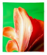 Amaryllis Head Pt Orange Amaryllis Flower On Green Background Fleece Blanket