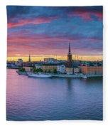 Dramatic Sunset Over Stockholm Fleece Blanket