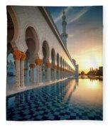 Amazing Sunset View At Mosque, Abu Dhabi, United Arab Emirates Fleece Blanket