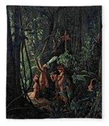 Amazonian Indians Worshiping The Sun God Fleece Blanket