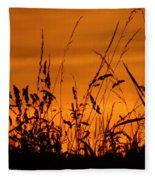 Amber Sundown Meadow Grass Silhouette  Fleece Blanket