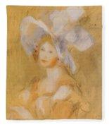 Amelie Dieterie In A White Hat Fleece Blanket