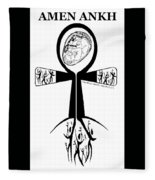 Amen Ankh Bw Fleece Blanket