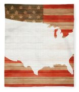 America Rustic Map On Wood Fleece Blanket