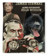 American Akita Art Canvas Print - Rear Window Movie Poster Fleece Blanket