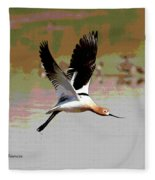American Avocet Flying Fleece Blanket