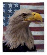 American Bald Eagle And American Flag Fleece Blanket