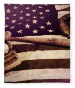 American Baseball Grunge Fleece Blanket