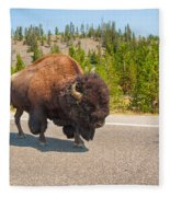 American Bison Sharing The Road In Yellowstone Fleece Blanket