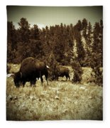 American Bison Vintage 2 Fleece Blanket