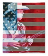 American Bluesman Stevie Ray Vaughan Fleece Blanket