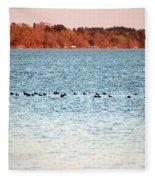 American Coots Crossing Lake Fleece Blanket