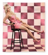 American Culture Pin Up Girl Inside 60s Retro Diner Fleece Blanket