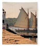 American Eagle At The Lighthouse Fleece Blanket