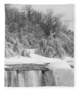 American Falls In Winter In Black And White Fleece Blanket